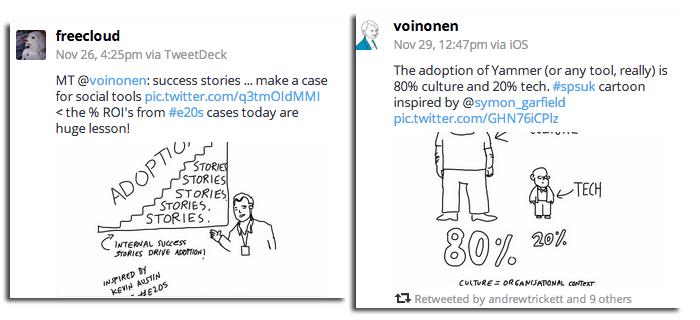 Two cartoon tweets