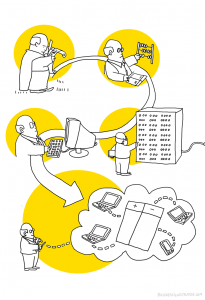 History of accounting cartoon illustration