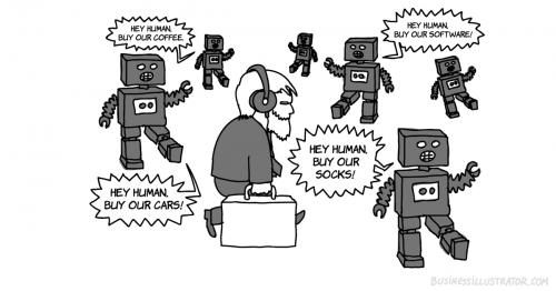 automated push marketing cartoon