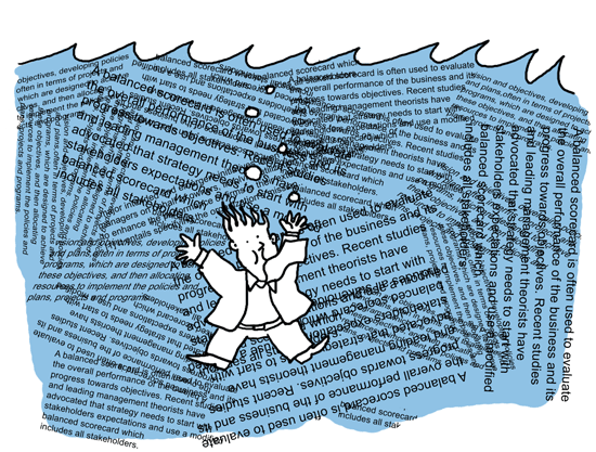 Man drowning in a sea of text