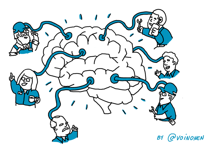 collective intelligence brain cartoon