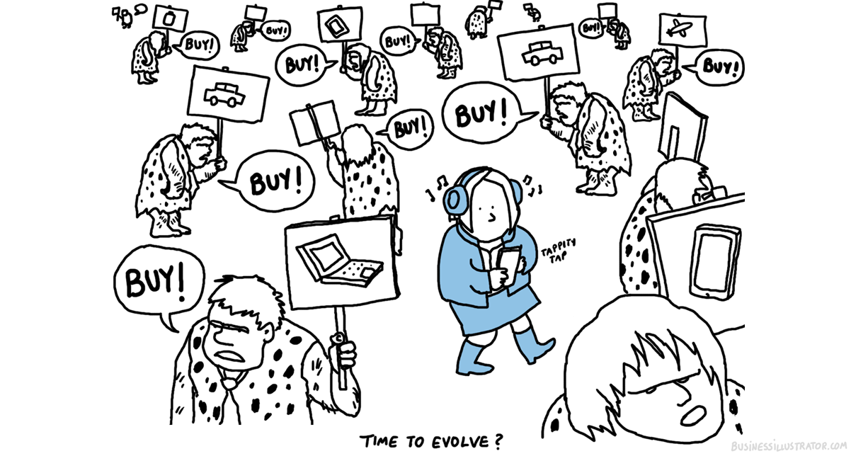 pushy sales vs modern day sales cartoon