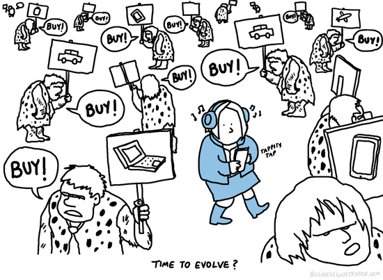 Old school sales cartoon