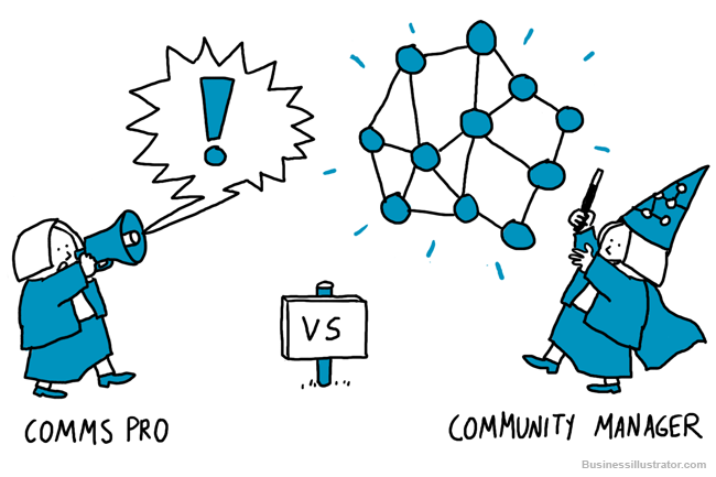 Old school communications vs networked communications cartoon