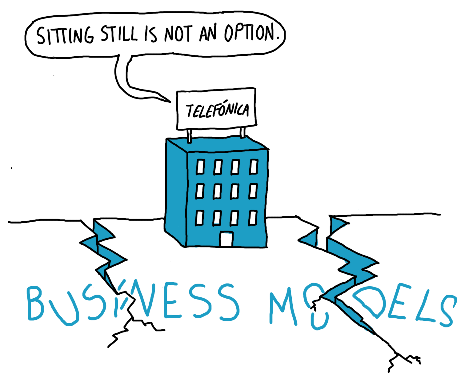 Disrupted business model cartoon