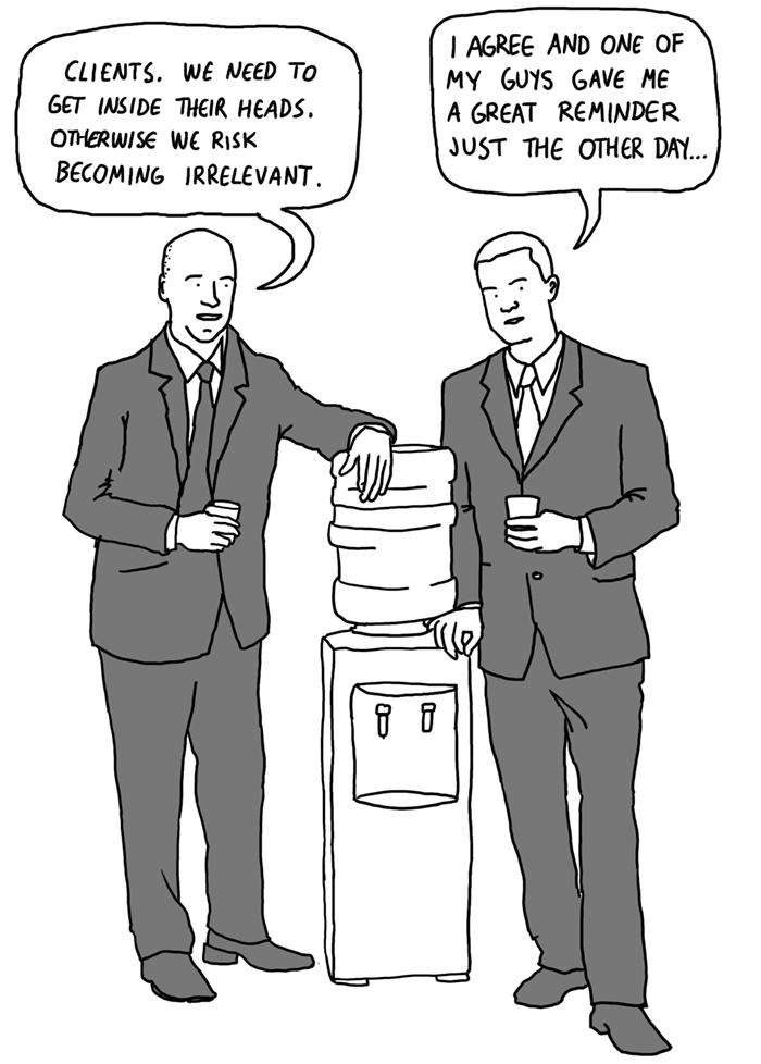 businessmen by a water cooler cartoon businessillustrator.com