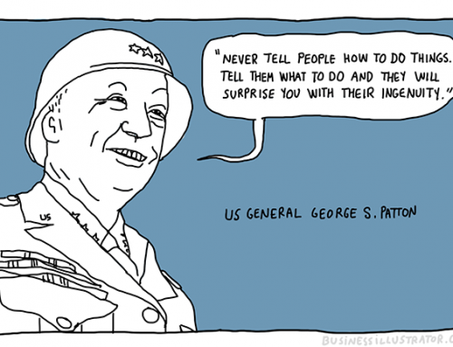 Never tell people how to do things – George Patton quote cartoon